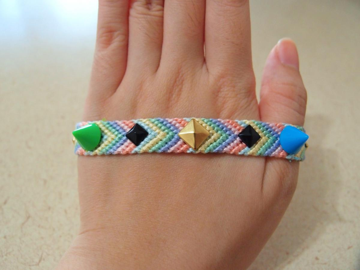 Spikes & Studs Pastel Friendship Bracelets || pink blue green yellow purple orange ||