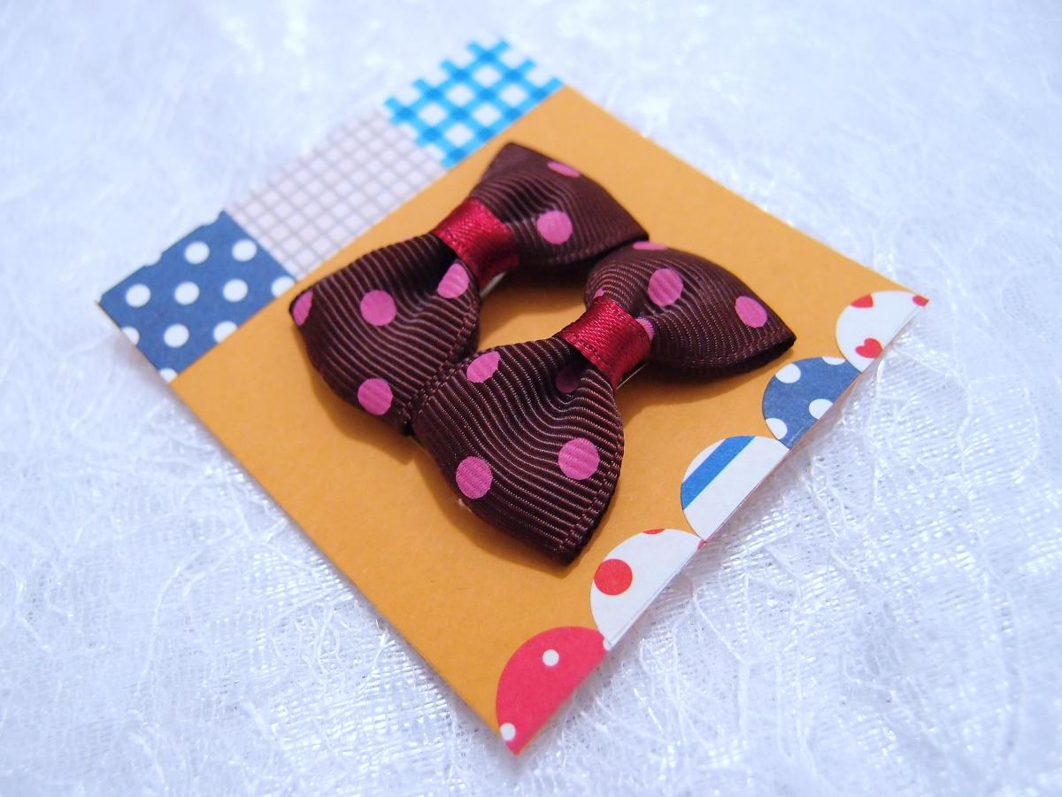 Mini Brown (Chestnut) Polka Dots Bow Hair Pins ( 2 in a set )