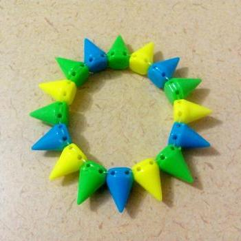 Blue Yellow and Green Spikes Bracelets