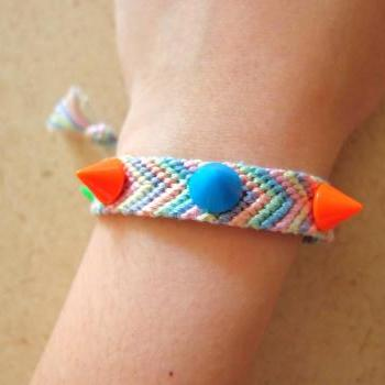 Spikes & Studs Pastel Friendship Bracelets || green purple orange blue pink ||