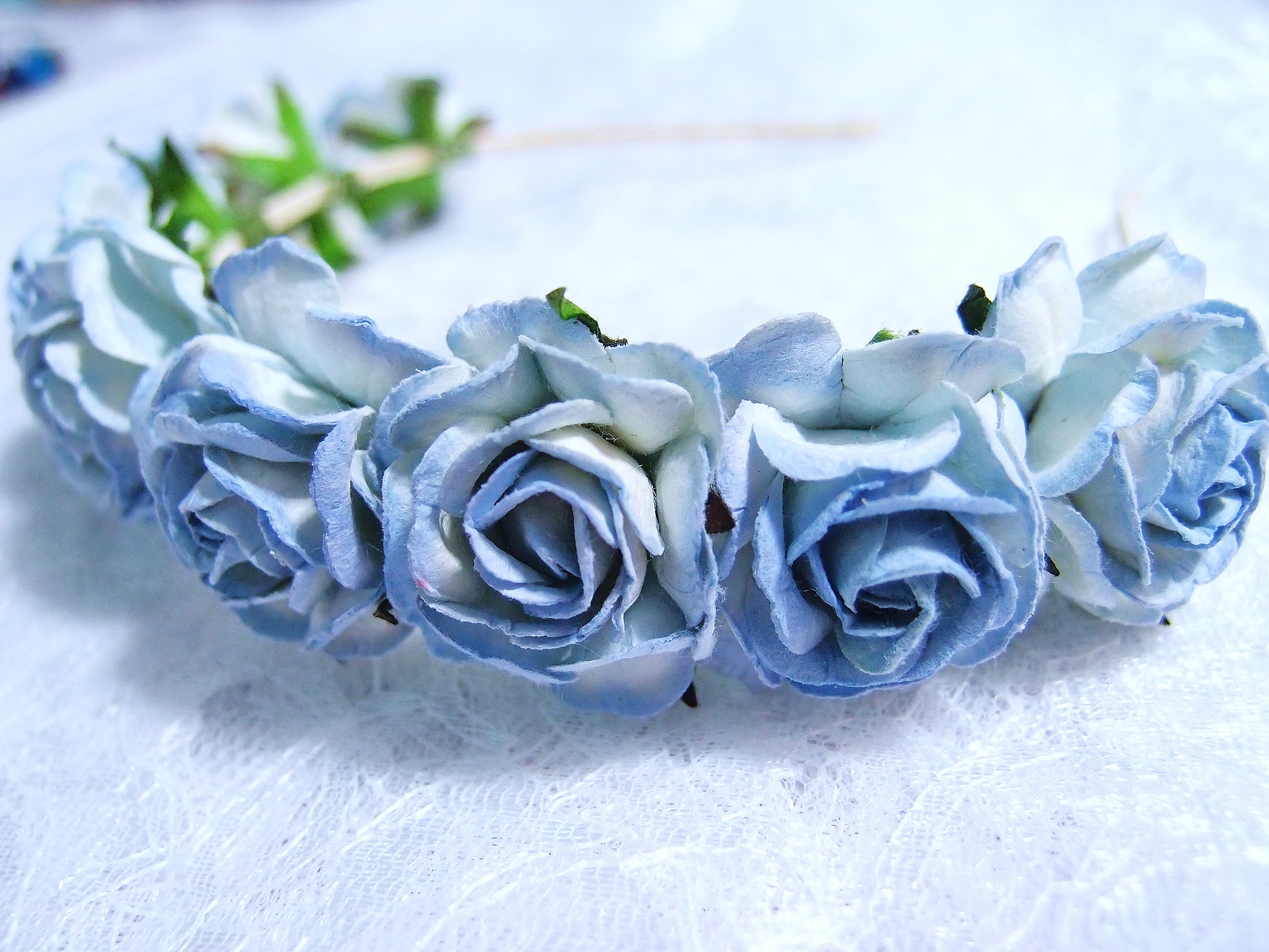 Blue floral headpiece hair wreath hair crown on luulla blue floral headpiece hair wreath hair crown izmirmasajfo